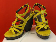 NIB BALENCIAGA ARENA MUSTARD YELLOW LEATHER WEDGE STUDDED SANDALS 40 9 $745