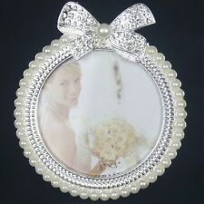 New Crystal Pearl Bowknot Home Decor Photo Frame Picture Frame Alloy Metal 3''