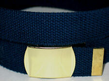 """Canvas NAVY Military WEB Style Fabric Belt GOLD Metal Buckle WIDE 1 1/2"""" X 50"""""""