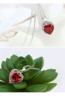 18K WHITE GOLD PLATED GENUINE SWAROVSKI CRYSTAL & RUBY RED CZ HEART NECKLACE