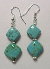 Dangle earrings - Turquoise Magnesite 14mm squares