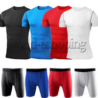 Mens Compression Tights Top T-Shirt Shorts Pants Base Layer Under Skin Sportwear
