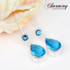 Elegant Women Jewelry Gift Teardrop Sky Blue Topaz Gems Silver Dangle Earrings