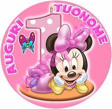 Cialda - Ostia per torte Baby Minnie 1 anno - tonda e personalizzabile!