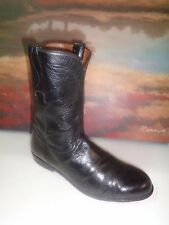 "MEN TOP QUALITY ""LUCCHESE"" LEATHER ROPER STYLE BOOTS-BLK -sz 9D"