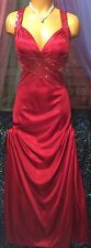 Satin Red Sequin Empire Goddess Egyptian Maxi Long Open Dress Gown Jr 1/2 XS
