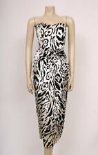 ORIGINAL VINTAGE 1980'S 80'S BLACK VELVET ANIMAL PRINT BOW PARTY DRESS! UK 12