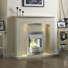 ELECTRIC CREAM IVORY SILVER 2KW FIRE PEBBLE WALL SURROUND FIREPLACE SUITE LIGHTS