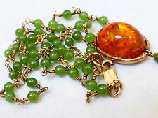VINTAGE ART DECO 14KGF JADE AND AMBER PENDANT NECKLACE