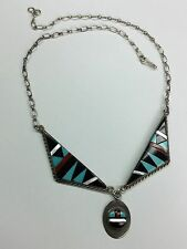 Old and Rare Navajo  925 Sterling Silver Necklace Signed S Edaakie