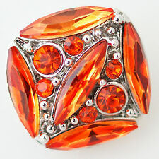 SNAP Rhinestone Orange Interchangeable Button Jewelry 18mm Fits Ginger Snaps