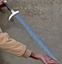 """36.50""INCHES CUSTOM HANDMADE DAMASCUS STEEL HOBBIT SWORD ZEBRA PATRON Discount"