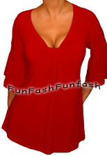 YW1 FUNFASH PLUS SIZE SLIMMING RED EMPIRE WAIST PLUS SIZE TOP SHIRT 1X XL 16