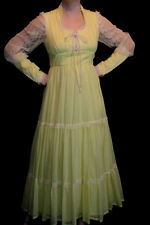 S~M YELLOW LACE ZIPPER SLV VTG 70s CORSET EDWARDIAN RENAISSANCE BOHO MAXI DRESS