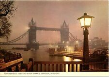 Cartolina ANTICA-Tower Bridge and the River Thames, Londra, by Night
