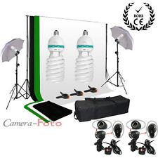 Foto estudio fotografía 2x125W continua iluminación Kit 3 telones fondo Paraguas