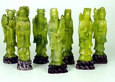 7 PERSONAGES OR CHINESE DIVINITIES. CUT GREEN MINERAL. CHINA . CENTURY XIX-XX.