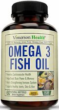 Vimerson Health Omega 3 Fish Oil Supports Brain Memory Focus Cognition Joints 60