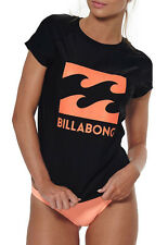 "NEW + TAG BILLABONG WOMENS (10) ""SURF DAYZ"" WETSHIRT RASHIE RASH VEST BLACK"