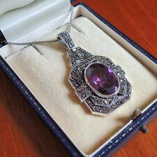 Art Deco Amethyst and Marcasite Pendant Necklace Sterling Silver