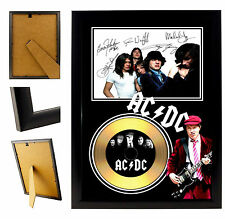 AC/DC  - A4 SIGNED FRAMED GOLD VINYL COLLECTORS CD DISPLAY PICTURE