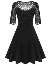 """DELLE"" GORGEOUS LADIES SIZE 14-16 BLACK STRETCH LACE FLARED COCKTAIL DRESS"