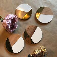 Conjunto de 4 Posavasos de medios combinados, oro de latón, blanco de resina y madera, Bombay Duck
