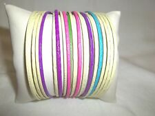 NEW LIGHT WEIGHT THIN MULTI COLORED 20  BANGLES BRACELET / NICE