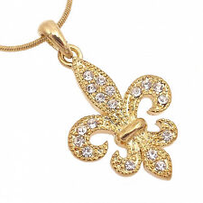 Fleur De Lis Symbol Pendant Necklace Charm Austrian Crystal Clear Gold T Jewelry