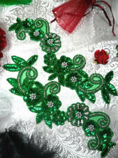 """0183 Green & Silver Mirror Pair Beaded Sequin Appliques 10"""" Sewing Crafts Motifs"""