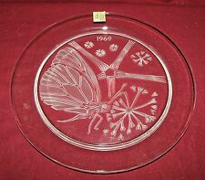 Lalique art glass 1969 Papillon (Butterfly) annual plate with original box