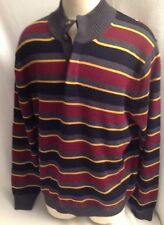 BROOKS BROTHERS Men's XL Merino Wool Striped Sweater Men Burgundy Navy Yellow