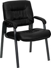 Lot of 6 Black Titanium Leather Guest Reception Waiting Room Side Office Chairs