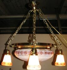 VICTORIAN STYLE BRASS & ART GLASS CHANDELIER-CENTER GLOBE WITH 4 HANGING SHADES
