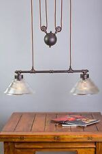 Vintage industrial rustic metal 30cm diameter glass shade 2 bulb pendant light