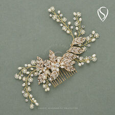 SWEETV Gold Hair Comb Clip Wedding Headpiece Crystal Pearl Bridal Hair Jewelry