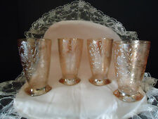 4 FLORAGOLD LOUISA Tumblers 5 1/4 Orange Carnival Irid Jeanette Depression Glass