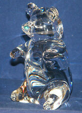 EX! Signed CORCORAN ITALY~ART Glass CRYSTAL BEAR~Solid 1lb~PAPERWEIGHT or DECOR!