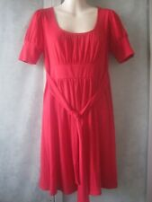 Velvet Torch Polyester Red Scoop Neck Pleated SS Tunic Shirt Top/Mini Dress S