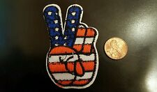 "1960s Style Peace sign red white and blue  Iron on patch 3"" x 1.5"""