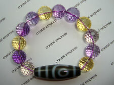 FENG SHUI - 2 EYE DZI WITH 12MM HIGH GRADE FACETED AMETRINE (AMETHYST CITRINE)