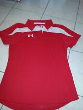 NWT Ladies UNDER ARMOUR size M Polo top short sleeve red semi fitted