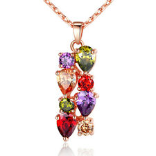 18K Rose Gold Plated Pendant Necklace With AAA Multi Flower Ziron For Women Gift