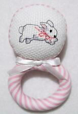 "HAND~CROSS STITCHED GIRLS PINK BUNNY FABRIC BABY RATTLE 4 1/2"" BABY SHOWER GIFT"