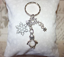"Cute penguin, white enamel snowflake and ""Let It Snow"" charm keyring"