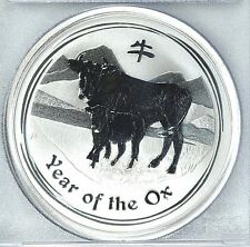 RARE ! ~ 2009~P ~ 1~OZ PURE .9999 SILVER ~ YEAR of the OX ~ PCGS ~MS~69 ~ $88.88