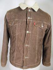Men's Levis's Brown Corduroy Button Sherpa Lined 100% Cotton Jacket Size L 12306