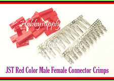 10 SETS JST 2-Pin Male , Female Connector Plug Red Color with male female Crimps