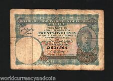 MALAYA MALAYSIA 25 CENTS P3 1940 KING GEORGE VI RARE CURRENCY MONEY BILL NOTE