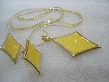 US Vintage Diamond Yellow  Sparkilng Enamel Necklace Earrings Jewelry Set 1980's